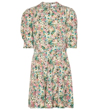 Floral silk shirt minidress