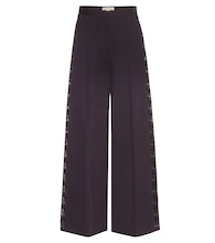 Maude lace-trimmed wide-leg cotton trousers
