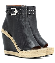 Leather wedge espadrille ankle boots