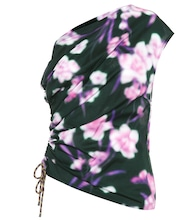 One-shoulder floral cotton top