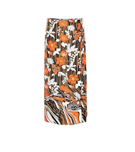 Floral silk wrap skirt