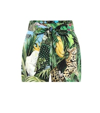 Printed cotton-twill shorts