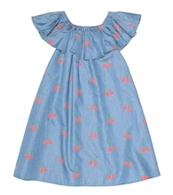 Cherry chambray dress