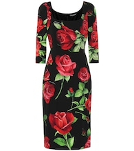 Floral stretch-silk crêpe dress