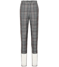 Checked wool-blend high-rise pants