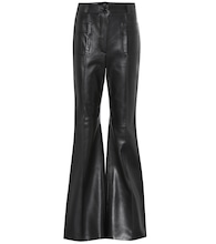 High-rise leather bootcut pants