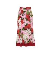 Floral stretch-silk midi skirt