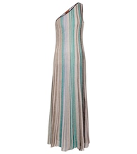 One-shoulder striped maxi dress