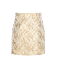 Metallic jacquard wool and silk-blend miniskirt