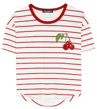 Striped cotton T-shirt with appliqué