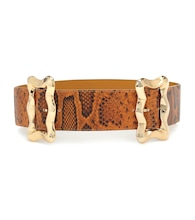 Luna python-effect leather belt