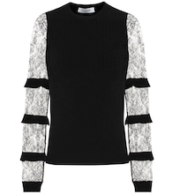 Valentino lace-trimmed crêpe sweater