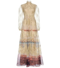 Printed silk and lace gown