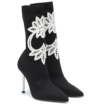 Lace-trimmed knitted ankle boots