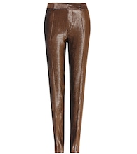 Striped metallic wool-and-silk blend trousers