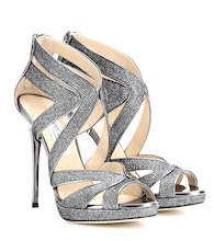 Collar glittered-canvas sandals