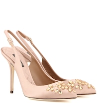 Bellucci embellished satin slingback pumps