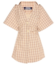 Cotton and linen checked mini dress