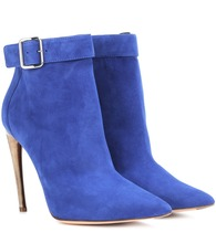 Curved horn-heel suede ankle boots