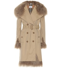 Shearling-trimmed trench coat