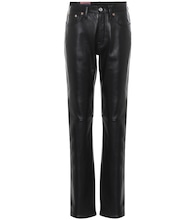 Leather high-rise straight pants