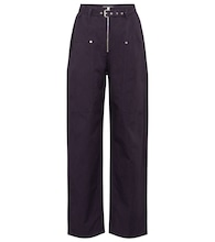 Paggy belted cotton and linen pants