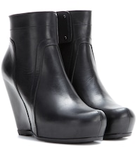 Classic leather wedge ankle boots