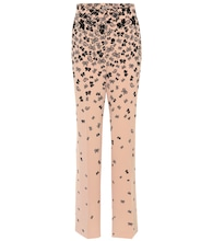 Butterfly-printed wide-leg trousers