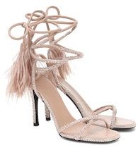 Valentino Garavani Upflair 100 feather-trimmed leather sandals