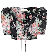 Bellitude floral linen crop top