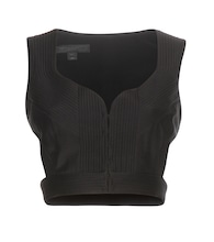 Cotton and silk-blend bustier top