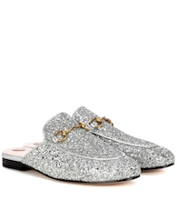 Princetown glitter-coated leather slippers