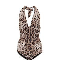 Leopard-printed one-piece swimsuit
