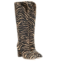 Zebra-print calf hair knee-high boots