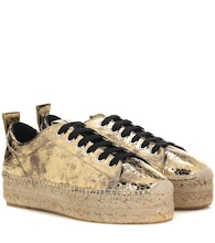 Platform espadrille leather sneakers