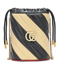 GG striped leather bucket bag