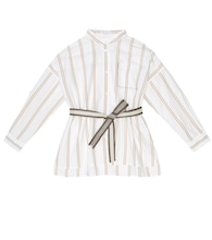 Striped cotton belted shirt