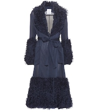 Morel ruffled cotton and silk coat