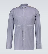 Paneled checked cotton shirt