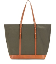 Cabas Medium leather-trimmed canvas shopper