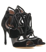 Freya High velvet and mesh sandals