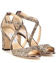 Carrie 85 metallic glitter peep toe sandals