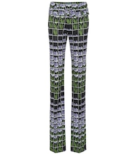 Printed high-rise jersey pants