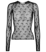 Printed fishnet top