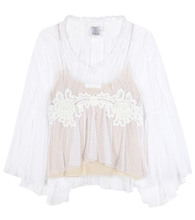 Lace-trimmed tulle blouse