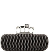 Knuckle embellished suede box clutch