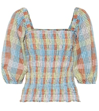 Checked cotton-blend top