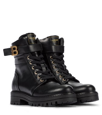 Balmain Kids - B Buckle leather boots - mytheresa.com