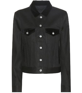 Acne Studios - Top denim jacket with velvet - mytheresa.com