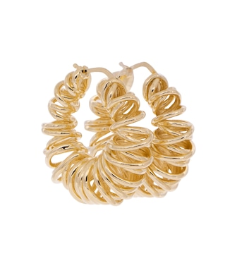 Bottega Veneta - 18kt gold-plated coil hoop earrings - mytheresa.com
